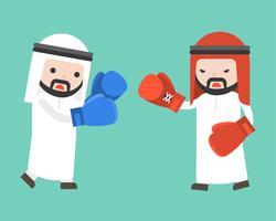 Dos hombres de negocios árabes luchando con guantes de boxeo, diseño plano