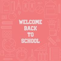 Bienvenido al cartel de la escuela con el tema de útiles escolares de contorno