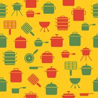kitchen utensil such as pot sauce pan seamless pattern for wallpaper or wrapping paper vector