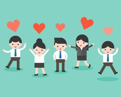 Group of business people and heart, business situation ready to use