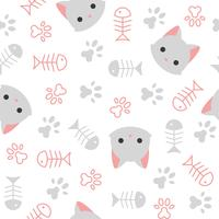 cute kitten seamless pattern, cat lover theme vector