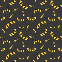 Olhos de gato, padrão sem emenda de Halloween, design plano com máscara de recorte