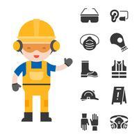 segurança industrial e equipamento de proteção para o trabalhador