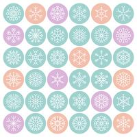 Snowflakes in circle vector icon pixel perfect