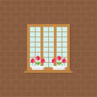 window and flower pot on brick wall illustration, flat design