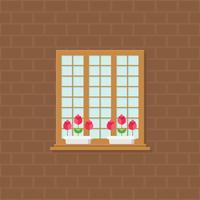 finestra e vaso di fiori sull'illustrazione del muro di mattoni, progettazione piana