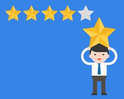 Empresario lleva estrella en su cabeza con tasa de estrellas, calificación y concepto de cote vector