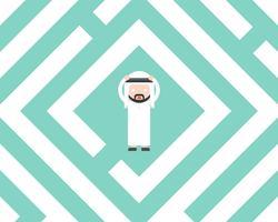 Uomo d'affari arabo confuso in labirinto, concetto piano della soluzione di progettazione