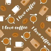 Coffee seamless pattern for use as wallpaper, wrapping paper gift or background, flat design vector