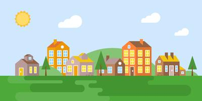 urban Landscape, village in summer, flat design