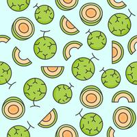 Melon or cantaloupe seamless pattern for wallpaper or wrapping paper