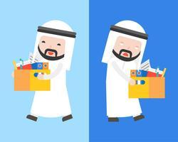 Glücklicher arabischer Geschäftsmann und gelangweilter arabischer Geschäftsmann tragen einen Dokumentenkasten