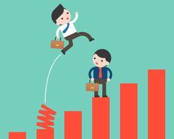 Homme d'affaires sautant du graphique de printemps, touche de raccourci au concept concurrentiel de succès