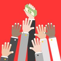 Business Hand holding pile of dollar banknote, vector
