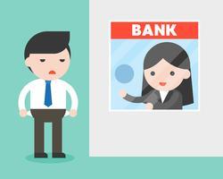 Kaufmann am Bankschalter, Bankier bittet um Geld