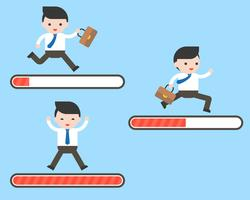 Conjunto de hombre de negocios que se ejecuta en la barra de carga, 3 pasos de progreso, inicio vector