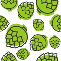 Artichoke outline seamless pattern on white background