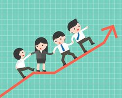 Business people group helping team to climb up graph, business concept