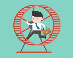 Businessman running in hamster wheel, vector illustration