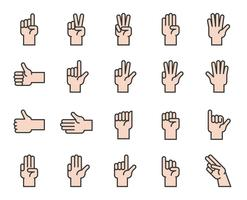 Hand counting and hand gesture icon such as like, love, fist, filled outline icon
