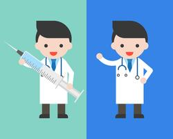 Doctor in gown with big injection needle vector