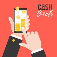 business hand holding smart phone and get cash back from application