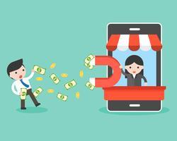 mano grande con imán grande en puesto de teléfono celular atraer dinero del empresario