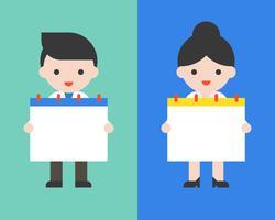 Hombre de negocios lindo y mujer que sostienen el calendario en blanco vector