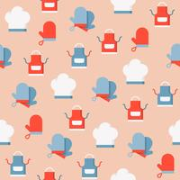 Chef hat, apron and gloves seamless pattern for wallpaper or wrapping paper