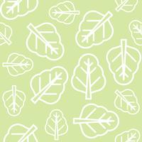 Folhas de couve ou espinafre chinês delinear padrão sem emenda