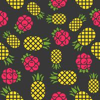 Pineapple and raspberries seamless pattern for wallpaper or wrapping paper