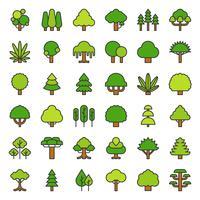 Ícone simples de árvore e planta bonito, cheio de design de contorno