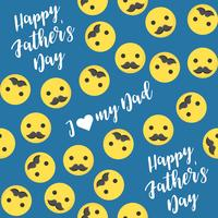 Seamless pattern happy father's day with emoji and mustache