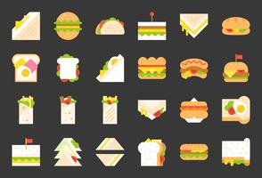 Fast-food pictogram, shoarma broodje, hotdog, gegrilde kaas sandwich, platte pictogram