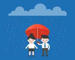 Homem negócios, compartilhar, um, guarda-chuva, com, executiva, cavalheiro, conceito