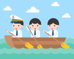 Businessman team rowing boat in sea wave
