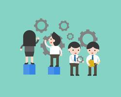 Gente di affari manutenzione attrezzi, impostazione e manutenzione fabbrica