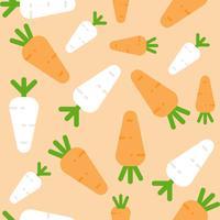 Rabanete de cenoura e branco padrão sem emenda