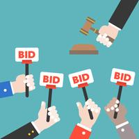 Hand hold bid sign and judge hammer, Auction bidding concept, flat design vector