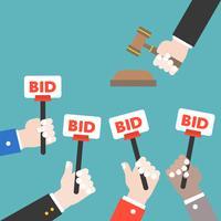 Asimiento de mano, signo de oferta y juez martillo, concepto de subasta, diseño plano
