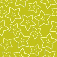 Outline Star fruit, Tropical Fruit seamless pattern vector