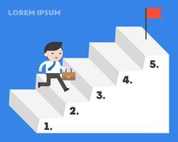 Uomo d'affari che corre per gradino di scala per raggiungere l'obiettivo