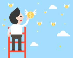 Businessman on ladder pick a flying coins from sky, flat design vector