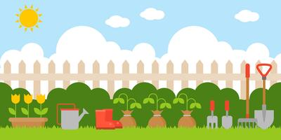 gardening background in flat design us as backdrop