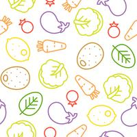 Colorful vegetable line seamless pattern, Chinese cabbage, eggplant, lemon
