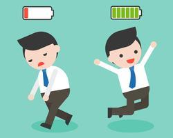 Felice e pieno di energia, uomo d'affari, burnout e mancanza di energia