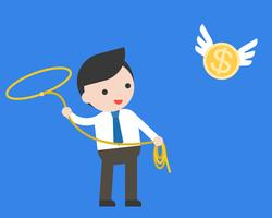 Businessman using lasso noose catching flying gold coin