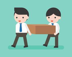 Twee zakenlieden die een blok, een vlak ontwerp dragen