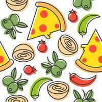 Pizza och ingredienser sömlöst mönster, konturer stil