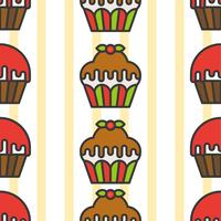 Modèle sans couture coloré mignon Cupcake pour cadeau de papier d'emballage